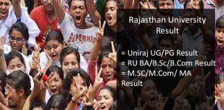 rajasthan university result, uniraj ug/pg result
