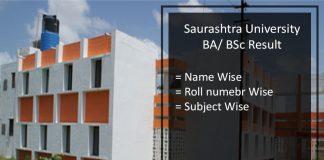 Saurashtra University FY-SY-TY BA BSC Result- Sem 2/ 4/ 6th Results Download