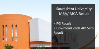 Saurashtra University MCA MBA MSC 2nd/ 4th Semester Result, Name Wise
