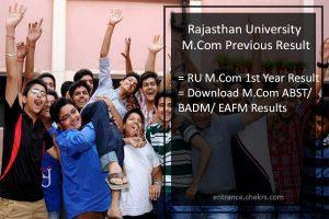 Uniraj M.Com Previous Result - Rajasthan University M.Com 1st Year Scorecard