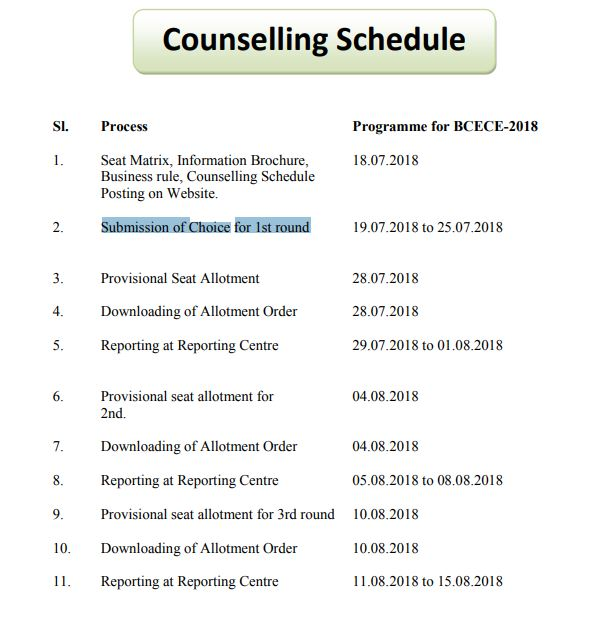 BCECE Counselling Schedule, Seat Matrix Allotment Result