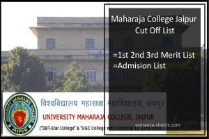 Maharaja College Jaipur Cut Off List- 1st 2nd 3rd Merit List