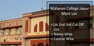Maharani College Merit List Jaipur- 1st 2nd 3rd Cut Off List