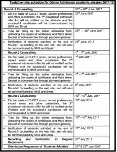 CUCET Counselling, Procedure, Schedule, Documents Required, Seat Allotment