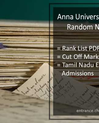 Anna University (TNEA) Random Number, Rank List Pdf, Cut Off Marks