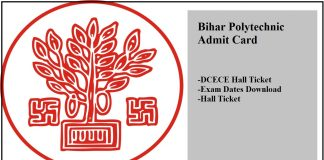 Bihar Polytechnic Admit Card, DCECE Hall Ticket, Exam Dates Download