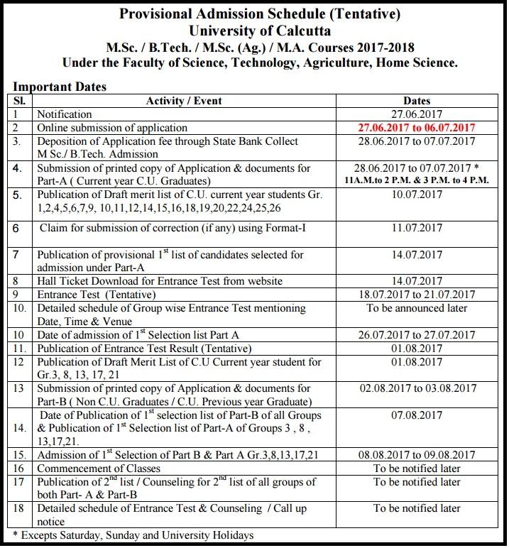 Calcutta University Admissions - MA B.Tech M.Sc Form, Dates, Seat Allotment List