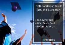 DDU Gorakhpur BA BSC BCOM Result - GKP 1st-2nd-3rd Year Results