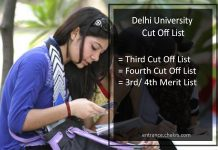 DU Third/ Fourth Cut Off List, Delhi University 3rd 4th Merit List Download