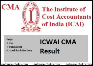 ICWAI CMA Result- ICMAI Inter Final Foundation June Rank Holders @icmai.in