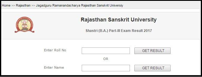 JRRSU Jaipur BA Shastri Result- Part 3rd-2nd-1st Year Results
