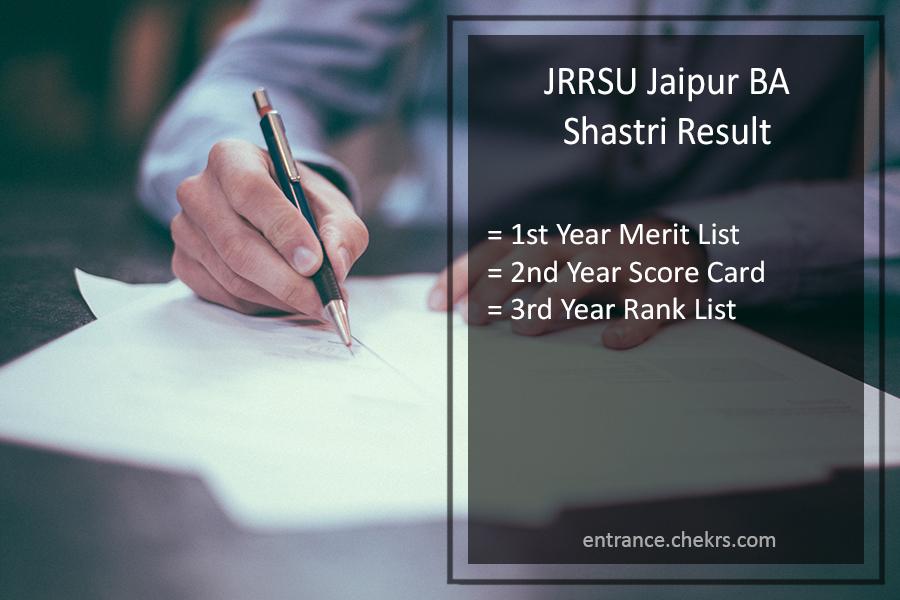 JRRSU Jaipur BA Shastri Result - Part 3rd-2nd-1st Year Results