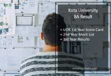 Kota University BA Result - UOK Part 1st, 2nd, 3rd Year Results