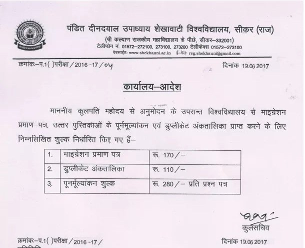 Shekhawati University Revaluation Form - BCOM BA BSC Rechecking / RTI Form