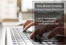 Visva Bharati University Entrance Exam Admit Card , Dates for UG PG Admission Test