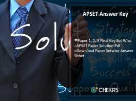 APSET Answer Key 30th July, Paper 1, 2, 3 Final Key Set Wise Download