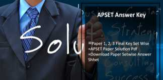 APSET Answer Key 30th July, Paper 1, 2, 3 Final Key Set Wise Download