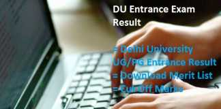DU Entrance Exam Result, UG PG Entrance Cut Off, Merit List @du.ac.in