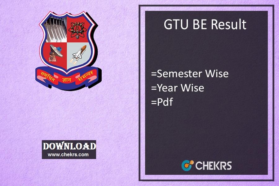 GTU BE Result Winter - 1st 3rd 5th 7th Sem Results @gtu.ac.in