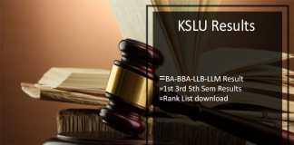 KSLU Results, kslu.ac.in BA-BBA-LLB-LLM 1st 3rd 5th Sem Results Download