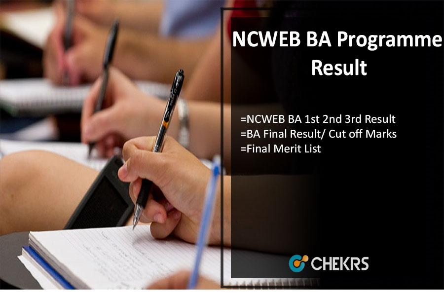 NCWEB BA Programme Result, ncweb 1st 2nd 3rd/ Final Year Results @ncweb.du.ac.in