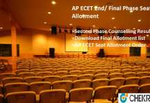 AP ECET 2nd/ Final Phase Seat Allotment, Counselling Result @apecet.nic.in