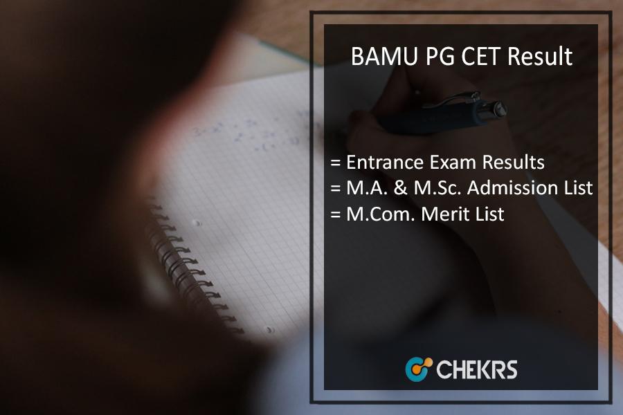 BAMU PG CET Result - bamu.ac.in MA MSC MCOM PGCET Entrance Exam Results