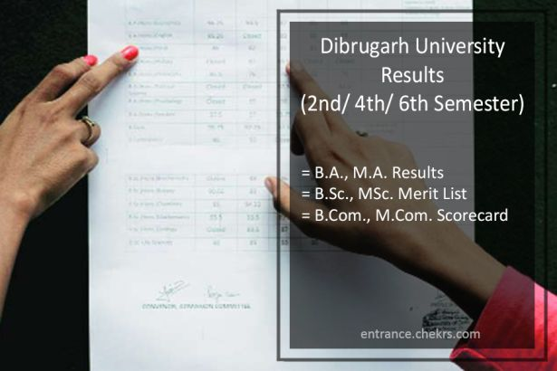 Dibrugarh University BA BSC BCOM Result, 1st-3rd-5th Sem MA MCOM MSC Results