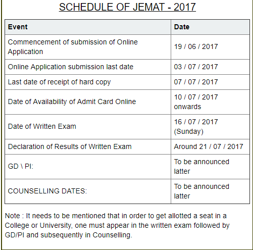 JEMAT Admit Card, WBUT JEMAT Hall Ticket, Exam Date @jemat.eadmissions.net
