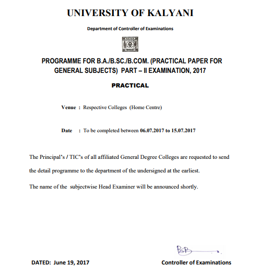 Kalyani University Exam Routine Part 1 2 3, BA BSC BCOM Exam Time Table