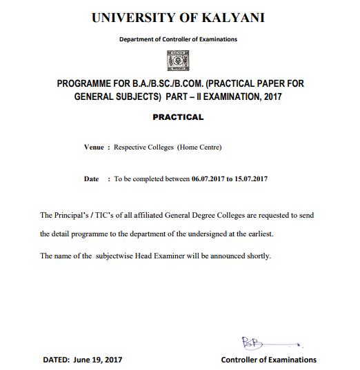 Kalyani University Exam Routine Part 1 2 3, BA BSC BCOM Exam Time Table