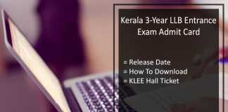 Kerala 3-Year LLB Entrance Exam Admit Card, Download 6th Aug KLEE Hall Ticket