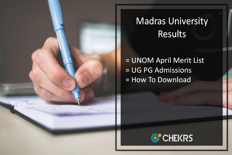 Madras University (UNOM) Results December - UG PG Result Declared @unom.ac.in