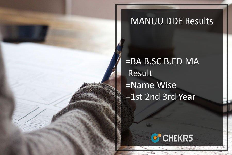 MANUU DDE Results 2018, BA B.SC B.ED MA 1st 2nd 3rd Year Result