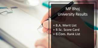 MP Bhoj University BA BSC BCOM Result, 1st 2nd 3rd Year Results