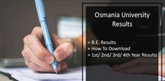 Osmania University BE Results, OU 1st 2nd 3rd 4th Degree Results