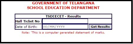 TS DEECET Result , Rank Card (Released) @tsdeecet.cgg.gov.in