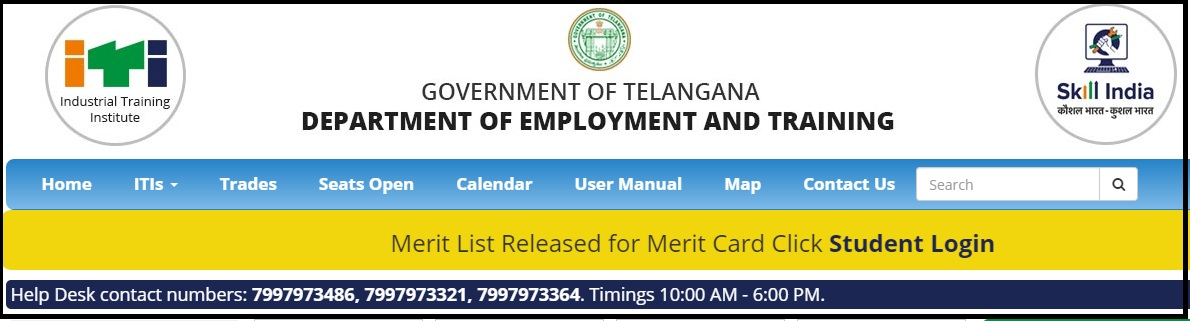 TS ITI Merit List - Telangana ITI Seat Allotment, Counselling Result