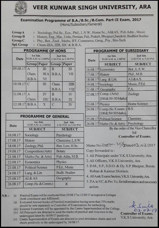 VKSU Time Table Part 2 BA-BSC-BCOM Exam Date Sheet/ Routine Download