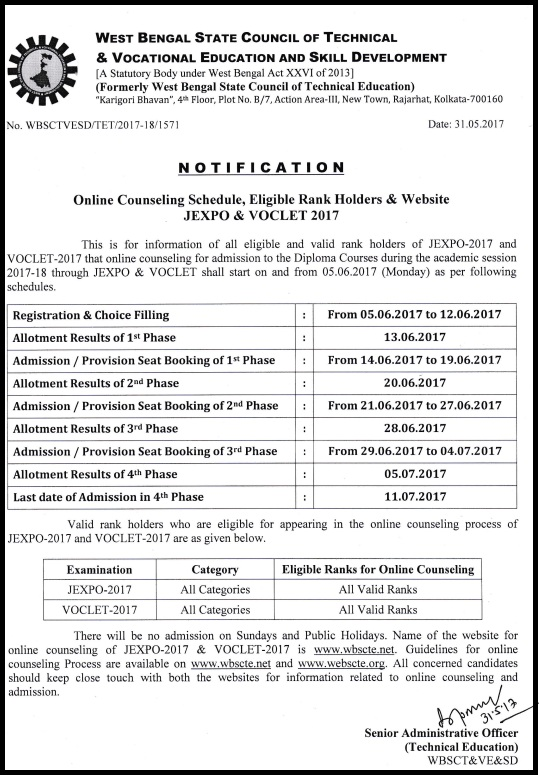 JEXPO 4th Phase Counselling Result - VOCLET Seat Allotment Results