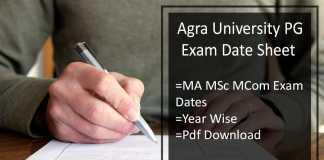 Agra University Exam Date Sheet - DBRAU MA MSC M.COM Time Table
