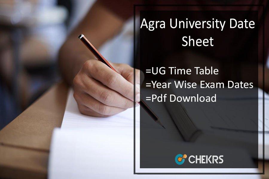 Agra University Date Sheet - DBRAU BA BSC BCOM BCA Time Table