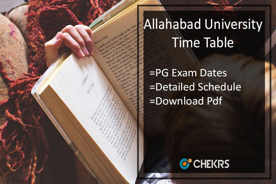 Allahabad University Time Table - MA MSC MCOM PG Date Sheet