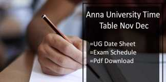 Anna University Time Table Nov Dec - UG Odd Sem Exam Schedule