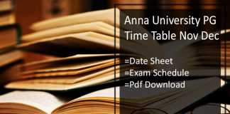 Anna University PG Time Table Nov Dec - Exam Date/ Schedule
