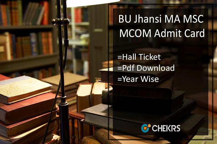 BU Jhansi MA M.SC M.COM Admit Card - Bundelkhand University