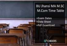 BU Jhansi Time Table - Bundelkhand Univ MA M.SC M.COM Date Sheet