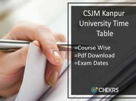 CSJM Kanpur University Time Table- MA M.SC M.COM Exam Date