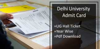 DU Admit Card - Delhi University BA B.SC B.COM Hall Ticket