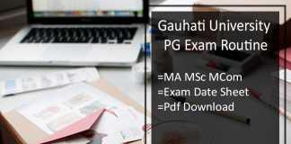 Gauhati University Exam Routine - 1st 3rd Sem M.A M.Sc Date Sheet